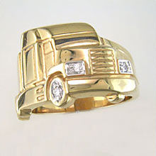 Tractor Trailor Ring with diamonds