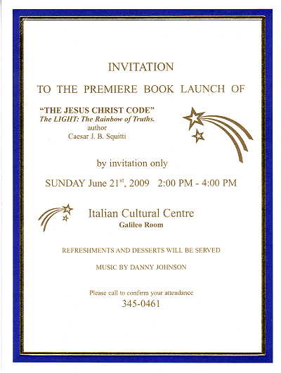 The Jesus Christ Code Book Launch Invitation
