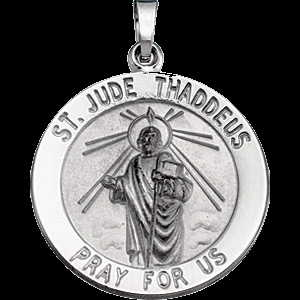 St. Jude medal in white gold