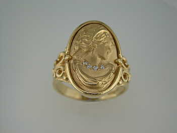 gold cameo ring with diamonds