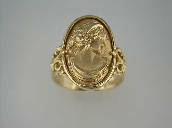 gold cameo ring oval