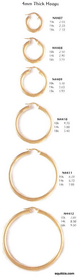 "Thick 14k Gold Hoop Earrings with Etch Design - Large 2 3/4"" Hoops"